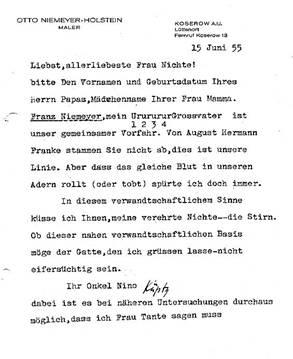 Brief ONH's an SKH von 1955